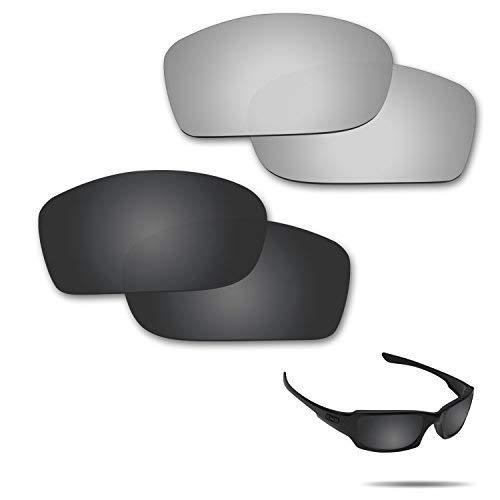 fiskr anti-saltwater Polarisierte Ersatz Gläser für Oakley Fives Squared Sonnenbrille 2Paar verpackt, Stealth Black & Metallic Silver