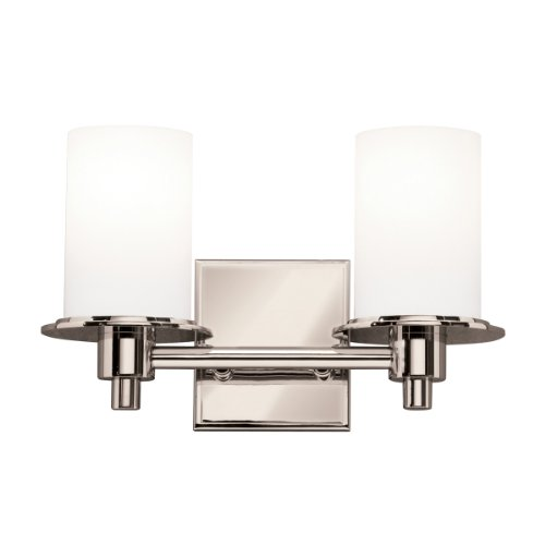 Cased Opal Shade (5437PN Cylinders 2LT Vanity Fixture, Polished Nickel Finish with Satin Etched Cased Opal Glass Shades by Kichler)