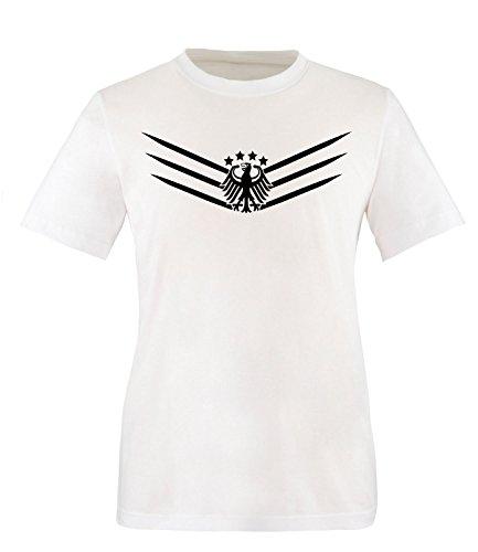Luckja Deutschland Fanshirt EM 2016 Black/White Edition M 02 Herren Rundhals T-Shirt Weiss/Schwarz