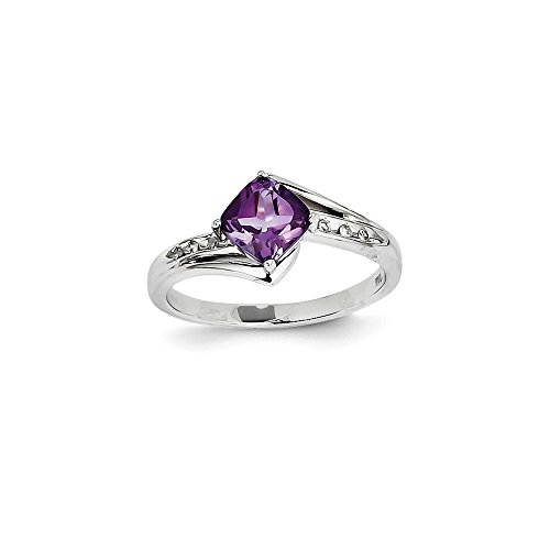 Sonia Jewels Solid White Gold Engagement Ring of 14 Carat and Purple Amethyst Square Faux (.03 Carat) (9 mm)