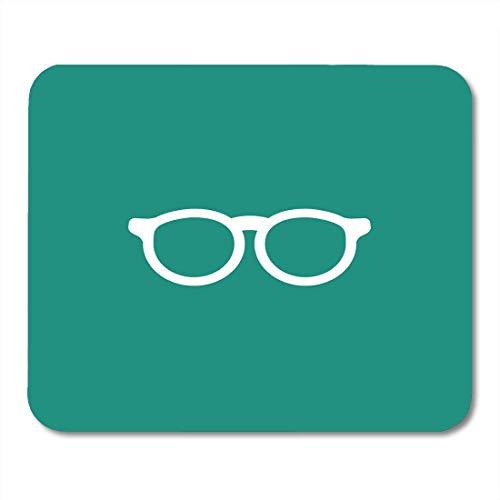 Deglogse Gaming-Mauspad-Matte, Blue Accessories White Flat Hipster Glasses Turquoise Unisex Student Eyeglasses Simple Bookworm Pictogram Mouse Pad,Desktop Computers (Sinken 24-schürze)