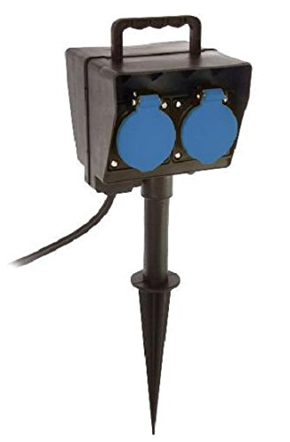 as - Schwabe 60685 Erdspieß mit Timer, 2m H05RN-F 3G1,5, schwarz, IP44 Aussenbereich (Zeitschaltuhren Für Die Außenbeleuchtung)