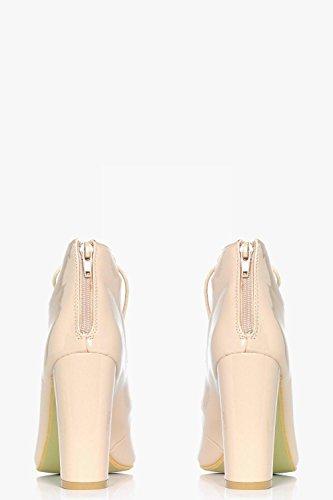 Damen Nackt Ellie Ghillie-sandalen Mit Peeptoe Und Blockabsatz Nackt