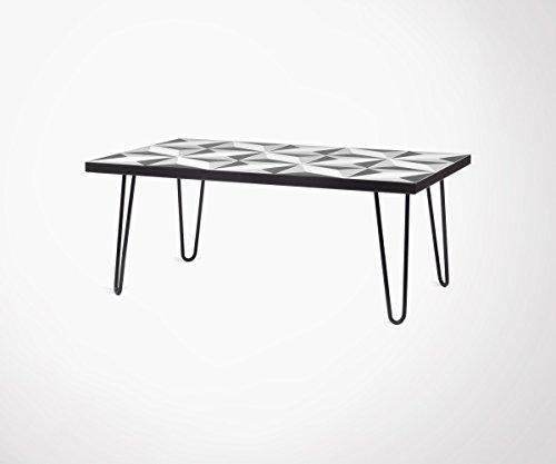 TemaHome Table Basse avec Carreaux de Ciment Pieds métal Noir Arrow