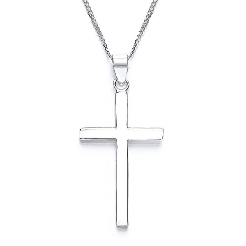 Silver cross pendant amazon michic silver plain small cross with 46 cm chain mozeypictures Images