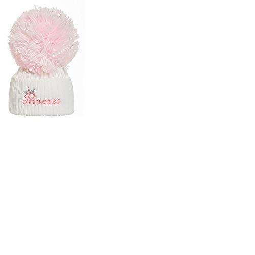 Soho Fashions Luxury British Made Baby Mädchen Rosa Voll Rosa Weiß/Rosa Prinzessin Silber Pom Niedlich Dekorative Frilly Strick Pom Pom Neugeborenes Baby Mützen (Weiß/Rosa, 0-3 Monate)