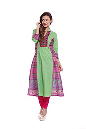 Kurti's Women's Kurta(751A-S_Green_Small)