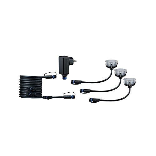 Paulmann 936.92 Outdoor Plug & Shine Floor Eco 3er-Basisset 3000K 3x1W Silber 93692 Bodeneinbauleuchte LED Aussenleuchten