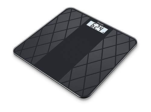 Beurer GS 135 Digitale Personen-/Glaswaage, mit LCD Display, Ein- und Abschaltautomatik, Oberfläche aus matter Fliesenstruktur, schwarz
