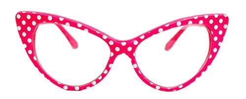 50er Jahre Damen Brille Cat Eye Nerdbrille Klarglas Brillengestell FARBWAHL KE (Polka Dots pink)