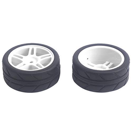 DishyKooker 4 Stück 63 mm Durchmesser 26 mm Breite Nabe Rc Räder 110 Sechskant 12 mm Felgen & Reifen für HSP 1/10 On-Road Flat Racing RC Auto schwarz weiß (12mm Rc Reifen Und Räder)
