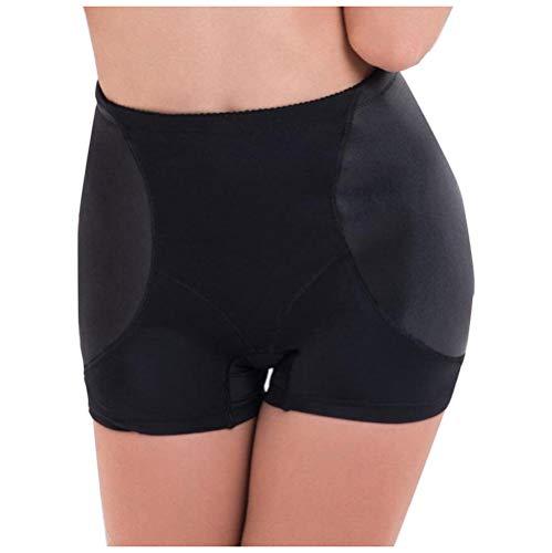 Hip Enhancer Damen Butt Lifter Nylon Körper Geformt Gepolsterte Flache Angle Slips Stärkung Hüften/Abdomen Gefälschte Ass Frauen Control Knickers (M-4XL),Black,L