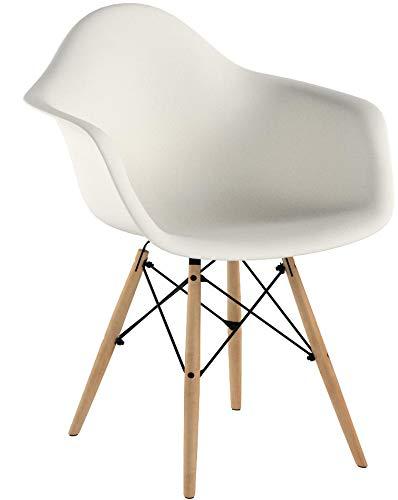 Popfurniture Designer Stuhl Weiß mit Armlehne   robust & leichter Aufbau   Ideale Esszimmerstühle, Stühle Esszimmer, Esstisch Chair, Küchenstühle, Essstühle, Esszimmerstuhl, Schalenstuhl, Stuhle