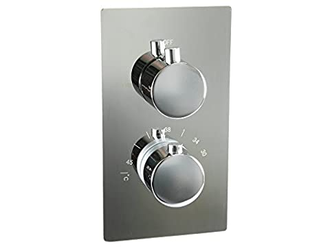 Concealed Chrome Thermostatic Shower Mixer Tap Valve - Round 2