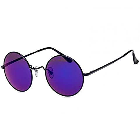 CASPAR SG038 große runde Retro Lennon Sonnenbrille / Rundbrille / Hippi Brille / Nickelbrille - Übergröße , Farbe:schwarz / blau