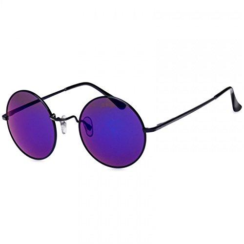 Brille Lila Lennon John (CASPAR SG038 große runde Retro Lennon Sonnenbrille / Rundbrille / Hippi Brille / Nickelbrille - Übergröße , Farbe:schwarz / blau)