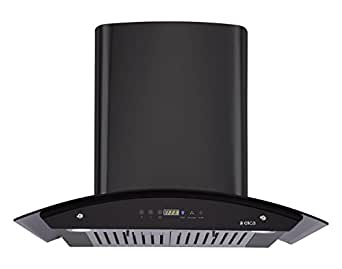 Elica Kitchen Chimney, Auto Clean, Touch Control with Baffle Filter 60 cm, 1200 m3/h (OSB HAC TOUCH 60 Nero, Black and Glass)