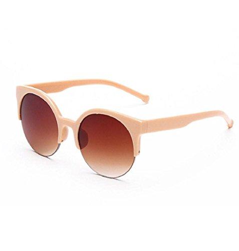 ZEZKT Sonnenbrille Retro Frauen Sonnenbrille für Frauen Herzform Integrierte UV-Brille Sommer Klassische Brille Gläser Schick Runde Verspiegelt Wayfarer Stil Unisex Mann Herren Fashion (Beige)