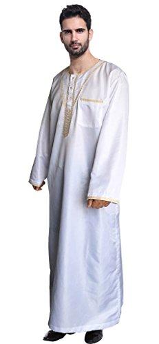 Auspicious beginning Colore elegante Kurta arabo saudito di colpo degli uomini del manicotto di disegno adatto lungo di un pezzo musulmano di Thobe Loost Bianco