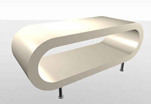 Zespoke Rétro Style créole Crème Haute Brillance Table Basse/Meuble TV Largeur de 110 cm – avec Pieds