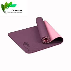 """CRAFTSFY TPE Yoga Mat with Carrying Bag and Strap -Dual Layer-Reversible Fitness Mats for Men & Women (72""""x24"""", 6mm, Purple and Pink)"""