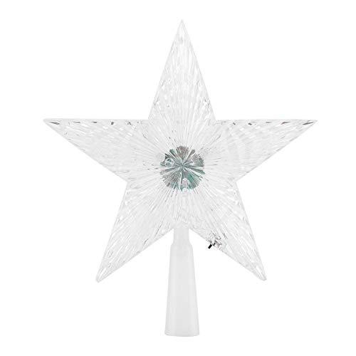 Semme Stern-Baum-Deckel, LED fünf-spitzes Stern-LED, das helle Baumwipfel für Weihnachtsbaum-Dekoration-Schein-Stern-Verzierung Innenim Freien benutzt ändert (klein) -