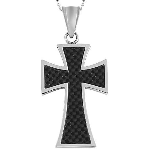 Anazoz Acero Inoxidable Collar Negro Fibra Forma Cruz Pulido 2.1*3.4Cm Con Cadena Al Azar Unisex