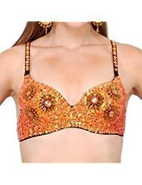 Turco Emporium para danza del vientre de lentejuelas sujetador Top naranja naranja talla única