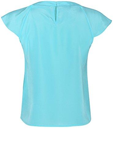 oodji Ultra Femme Haut à Volants en Tissu Fluide Turquoise (7300N)