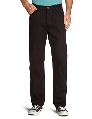 Lee Men's Brooklyn Comfort Straight Leg Jeans, Black Rinse, W36/L34