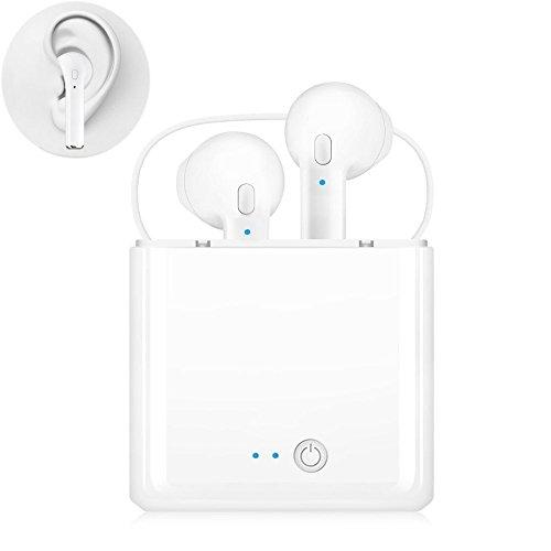 Savtic cuffie bluetooth, mini cuffie wireless sport auricolari stereo in-ear sweatproof auricolari con cancellazione del rumore e ricarica custodia fit per iphone ios e android