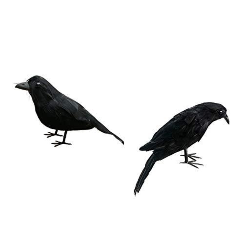 KESOTO 2pcs Rabe Krähe Vögel Figuren mit schwarzen Federn -