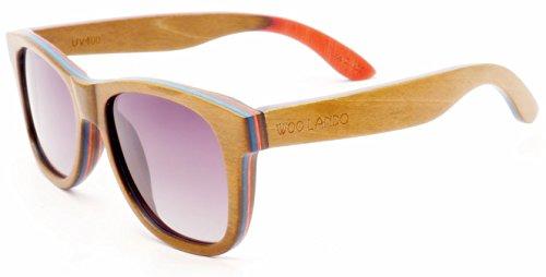 WOO LANDO - Red Dot Skateboard - Unisex Echtholz-Sonnenbrille, flexible braun/rote Skateboard Schichtung, graue Verlaufstönung & polarisiert