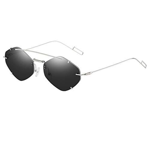 Lazzboy Frauen Flache Linse Verspiegelt Metallrahmen Brille Cat Eye Sonnenbrille Neu Unisex Fashion Unregelmäßige Form Metall Spiegel Gläser Leichte Retro Trend Sonnenbrillen(Schwarz)