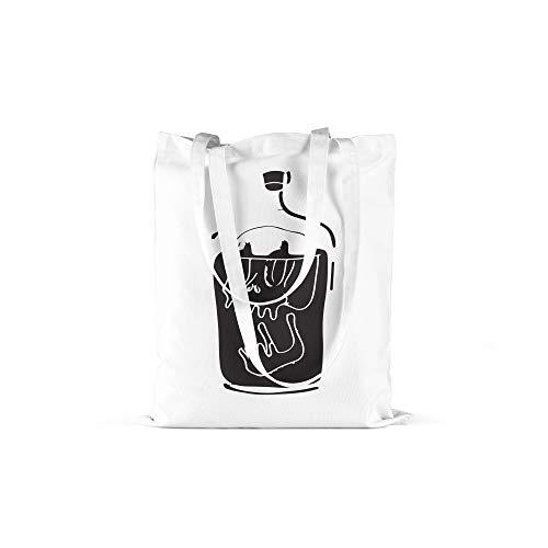 druckt Schädel in der Flasche Print in Weiss Baumwolltasche mit Langen Henkeln Beutel Skull in Bottle Druck Ökologisch & Nachhaltig Tragetasche 100% Baumwolle ()