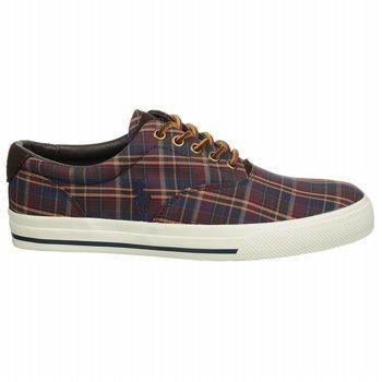 Polo von Ralph Lauren Vaughn Lace Up Sneaker Maroon / navy Multi Plaid