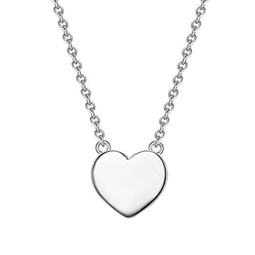 Glanzstücke München Damen-Silberhalskette mit Anhänger Herz Sterling Silber 40 + 5 cm lang - Silberkette Herzkette Modern-Kette mit Herz-Anhänger (Moderne Herz-anhänger)