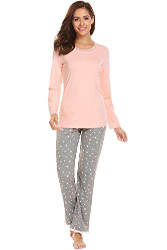 ADOME Damen Zweiteiliger Schlafanzug Rundhalsausschnitt Pyjama Set Nachtwäsche Hausanzug Freizeitanzug Lang, Hellrosa847, EU 40 (Herstellergröße: L) (Print Set Elastischer Bund Pyjama)