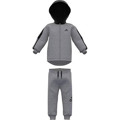 adidas Baby Logo Full Zip Hooded Fleece Trainingsanzug, Medium Grey Heather/Black, 74 - Einfach Zip Polo