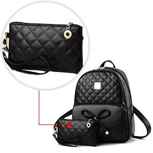 Alice Fashion Girls Bowknot 2-PCS Fashion Backpack Cute Mini Leather Backpack Purse for Women Image 2