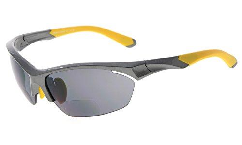 Eyekepper TR90 Sport Bifokale Sonnenbrille Baseball Laufen Angeln Fahren Golf Softball Wandern Halbrandlose Lesebrille (Perliges Grau, 3.50)