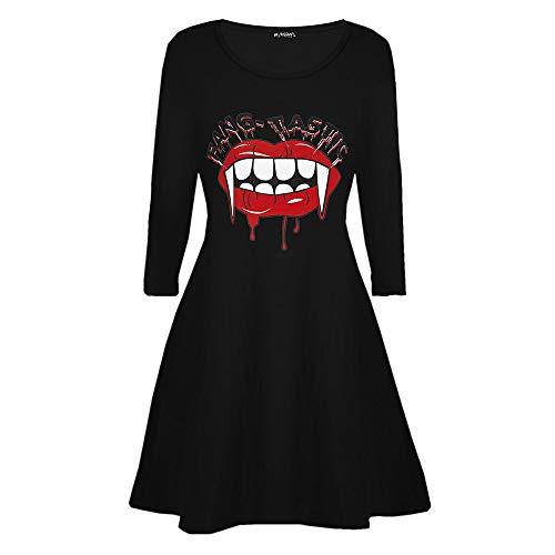 Dicomi Damen Casual Vampire Horror Blood Halloween bedrucktes Kostüm Swing Dress C Schwarz XL