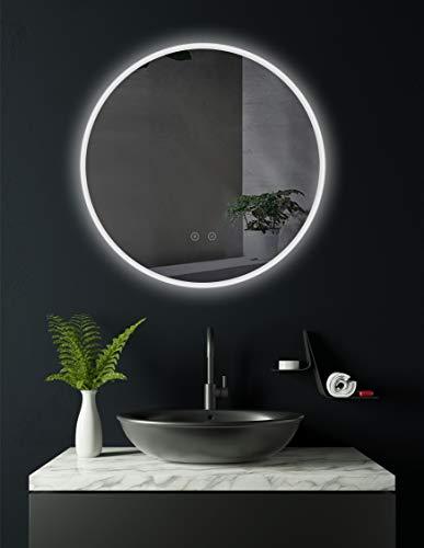 HOKO® Runder LED Bad Spiegel ULM 60cm, mit ANTIBESCHLAG SPIEGELHEIZUNG, außen LED beleuchtet, Badezimmerspiegel mit Licht rund, Energieklasse A+ (WEEE-Reg. Nr.: DE 40647673)