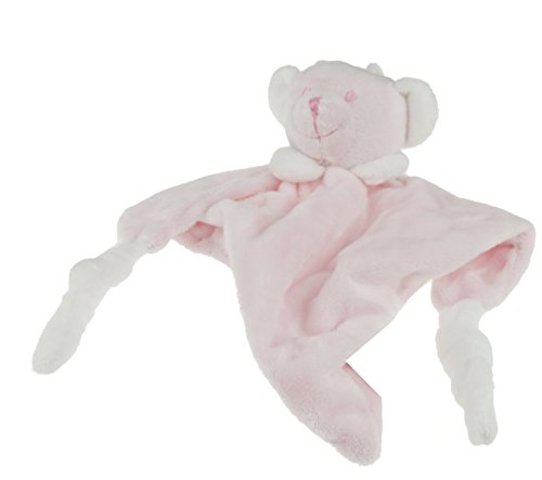 Glamour Girlz Super Soft Baby Boys Girls Small Plush Bear Dou Dou Comforter Blanket Pink