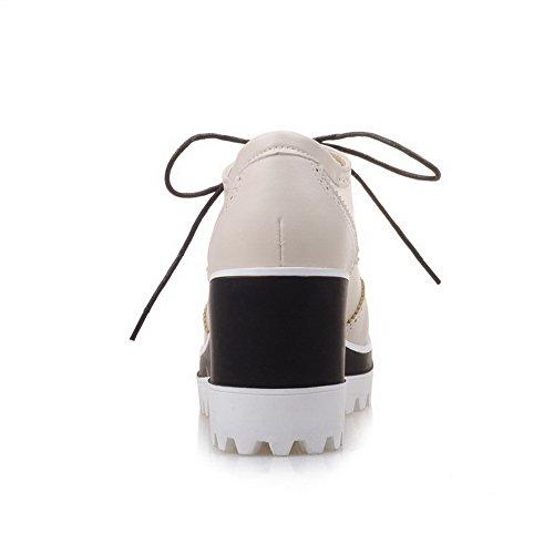 AgooLar Femme Couleur Unie Matière Mélangee Lacet à Talon Haut Rond Chaussures Légeres Beige
