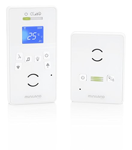 Miniland Digital Luxe - Vigilabebés digital de audio con funciones avanzadas y pantalla LCD, color blanco