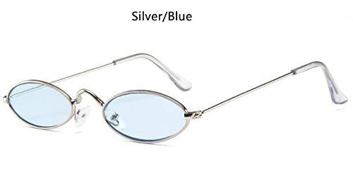Sonnenbrille Rote, Ovale Brille Metall'S Fashion Männer Runde Sonnenbrille Style Kleine Hip Hop Schmale Gläser Trends Weiblichen Sonnenbrille Silber Blau