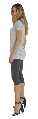 BeLady Damen Leggings 3/4 Capri aus Baumwolle Blickdichte Leggins Viele Farben (Grafitgrau, L - 40) (Baumwolle Capris)