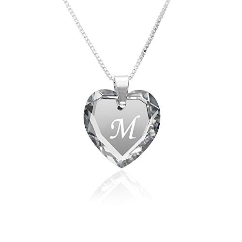 """Kette Damen 925 Silber, SWAROVSKI ELEMENTS Herzanhänger Farbe Crystal Silber Buchstabengravur\"""" M\"""", Herzkette als Geschenk für die Frau, Freundin oder zum Valentinstag"""