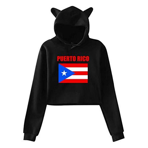 ZJKDKJYXG Puerto Rico Flag Frauen Mädchen Katze Ohr Hoodie Stilvolle Langarm Exposed Nabel Sport Tops